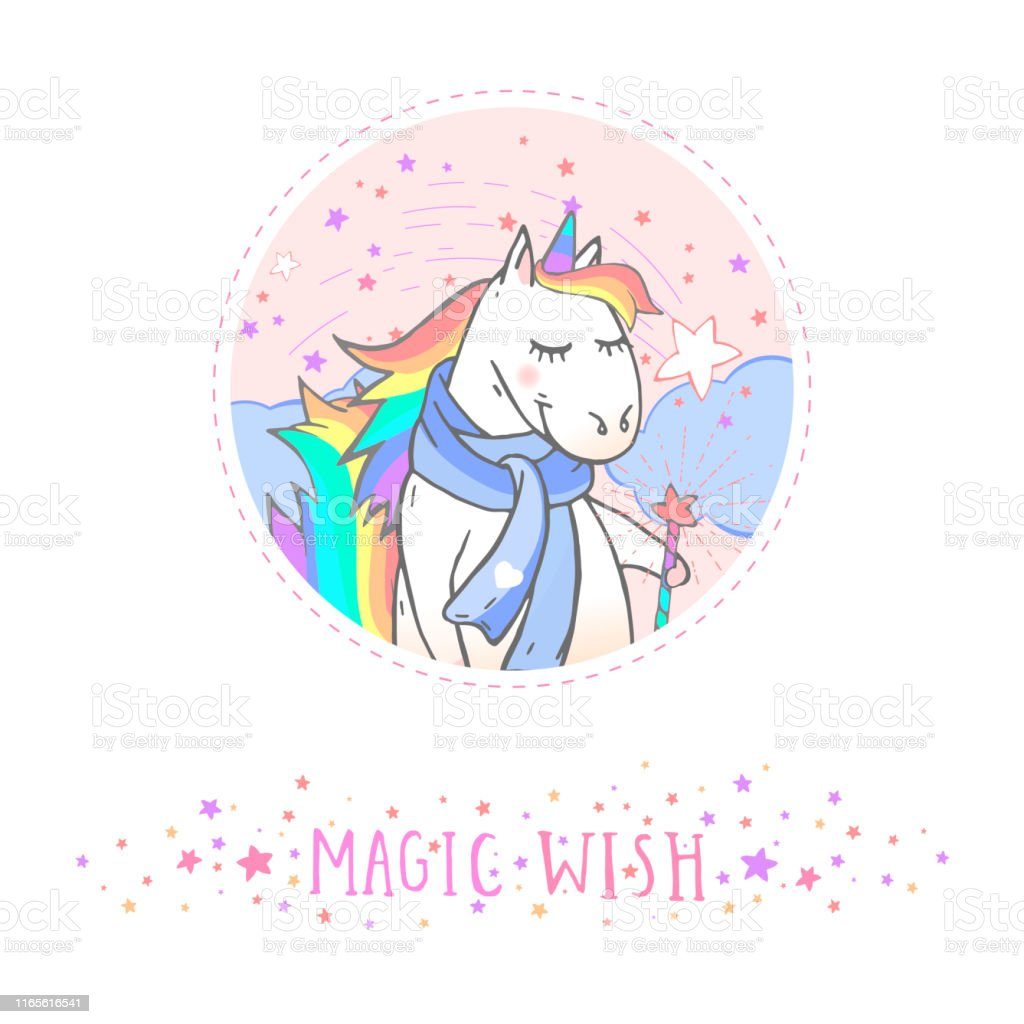 Vector Sticker Or Icon With Hand Drawn Cute Unicorn In Scarf