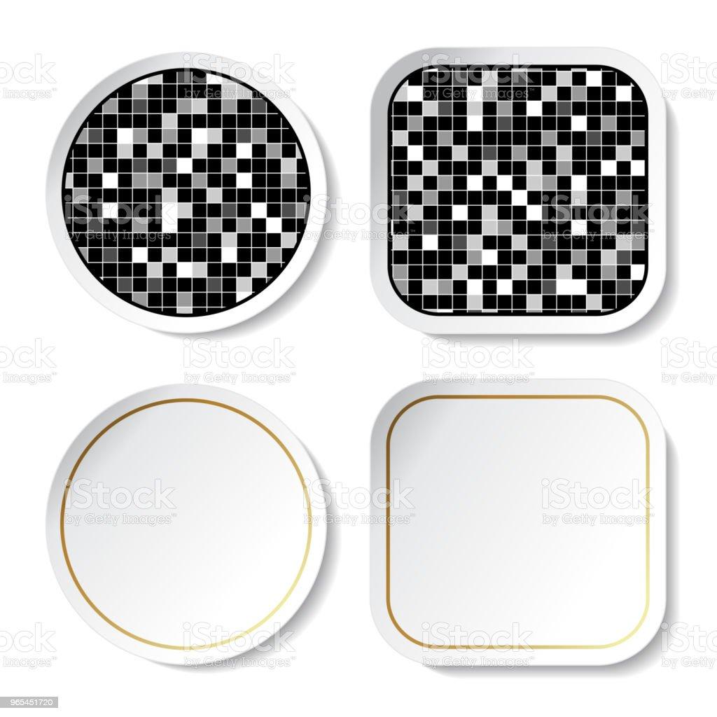 向量貼紙, 鈕扣-方形設計 - 免版稅乾淨圖庫向量圖形
