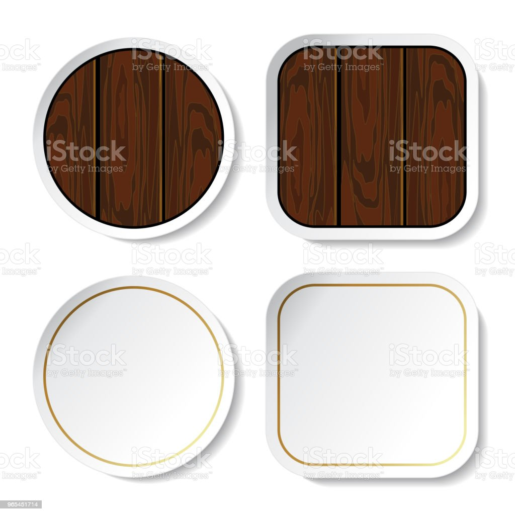 Vector stickers, buttons - wood and blank vector stickers buttons wood and blank - stockowe grafiki wektorowe i więcej obrazów bez ludzi royalty-free