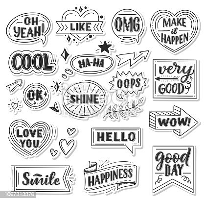 istock Vector stickers of quotes and sound blasts 1067313376