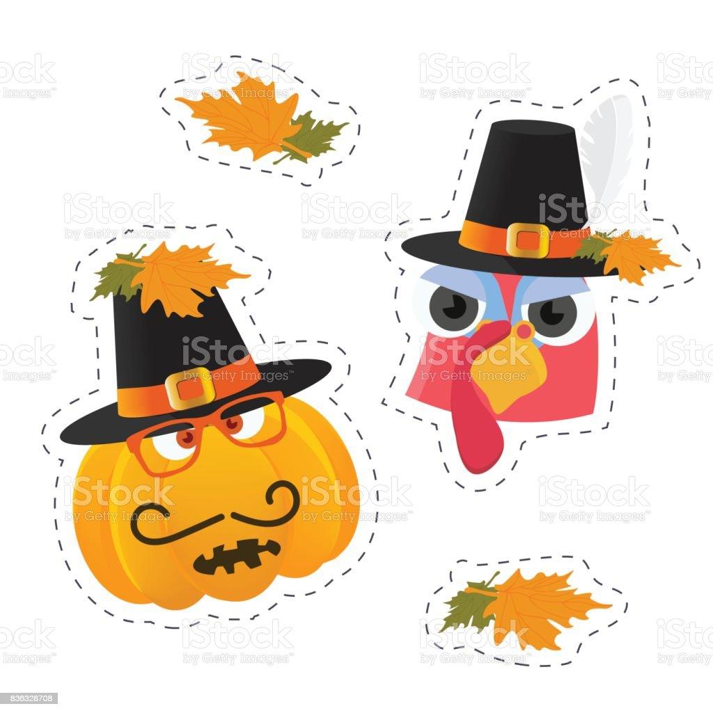 Vektoraufkleber Vorlagen Für Thanksgiving Day Türkei Vogel Gesicht