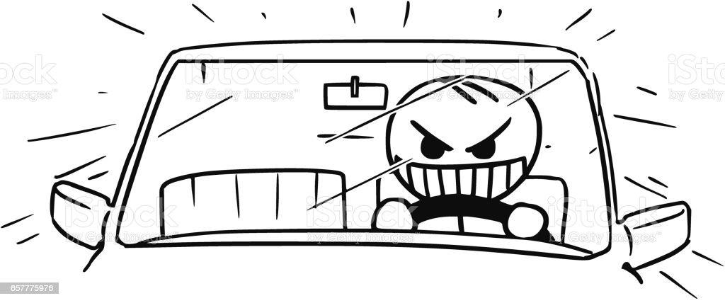 狂牛病車ドライバーのベクトル棒人間漫画 いたずら書きのベクター