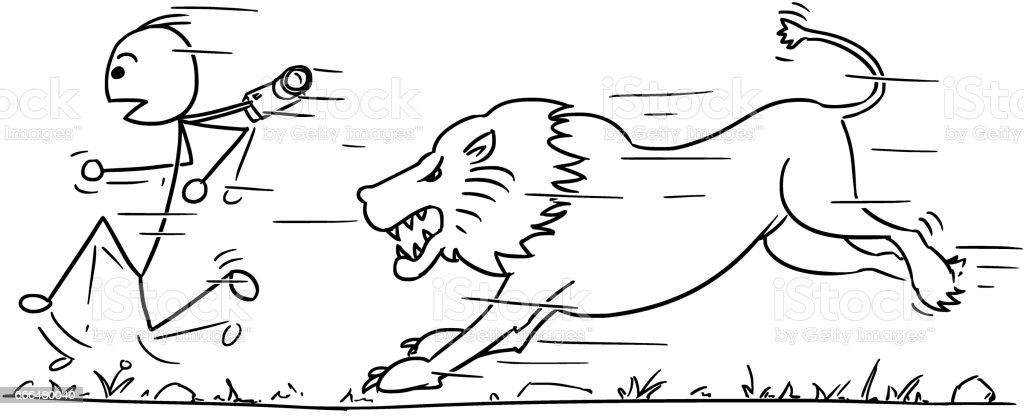 Vector Stickman Cartoon of Tourist Running Away from Lion vector art illustration