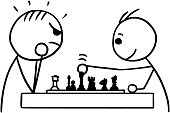 Vector Stickman Cartoon of Two Man Playing a Game of Chess