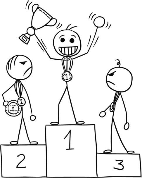 Royalty Free Cartoon Man Win A First Runner Up Clip Art ...