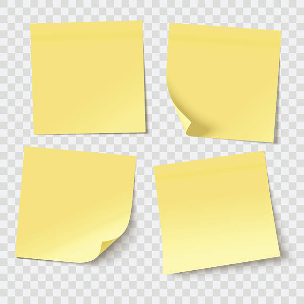 vector sticky notes - yellow stock illustrations