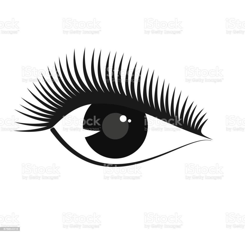 Vector Stilized Woman Eye Symbol With Long Eyelashes