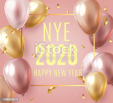 Vector stock elegant pink balloon party happy new year celebration festival background. NYE 2020 confetti greeting background with helium shine gold and pink balloon. Rich, VIP, luxury