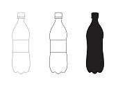 Three variations of a plastic bottle for a coloring book, decoration illustrations