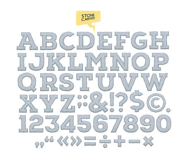 Vektor-Stein gehauenen alphabet. Buchstaben. zahlen gemacht aus Stein. – Vektorgrafik