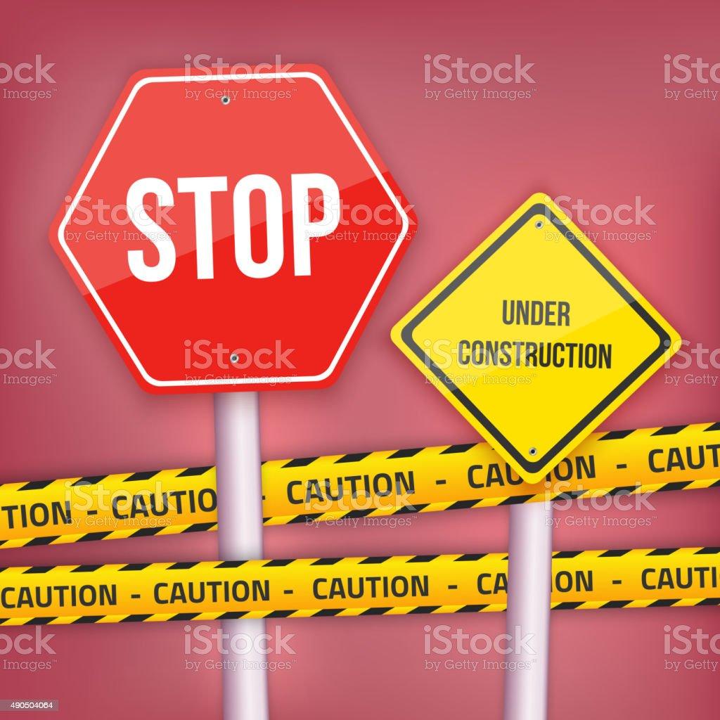 ベクトルの stop 止まれ標識のウェブサイトテンプレートにイエローの構造
