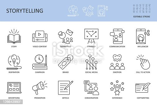 Vector storytelling icons. Editable stroke. Story content marketing strategy, campaign advertising brand social media. Conversation promotion article inspiration copywriting call to action influencer.