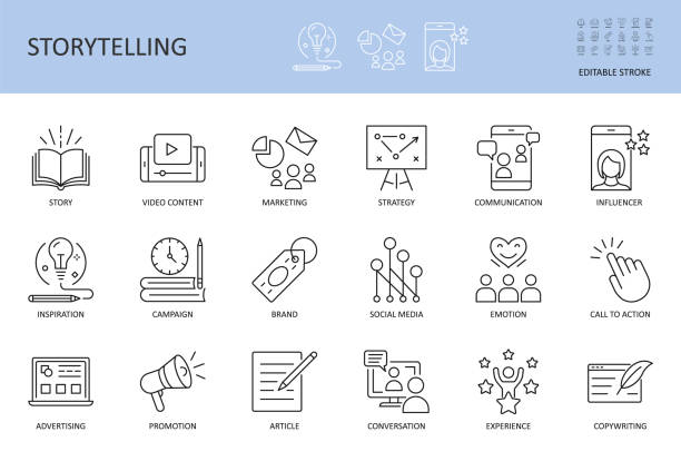 Vector storytelling icons. Editable stroke. Story content marketing strategy, campaign advertising brand social media. Conversation promotion article inspiration, copywriting call to action influencer Vector storytelling icons. Editable stroke. Story content marketing strategy, campaign advertising brand social media. Conversation promotion article inspiration copywriting call to action influencer. book icons stock illustrations