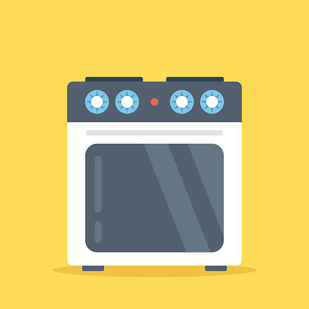 Vector stove. White electric kitchen stove, oven. Flat vector illustration Vector stove. White electric kitchen stove with oven isolated on yellow background. Flat design vector illustration stove stock illustrations