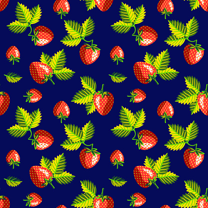 Vector - strawberries with leaves, illustrated template.