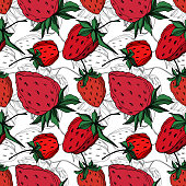 Vector strawberry fresh berry healthy food. Black and white engraved ink art. Seamless background pattern. Fabric wallpaper print texture.