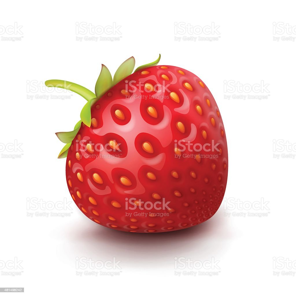 Vector Strawberry Isolated on White Background vector art illustration