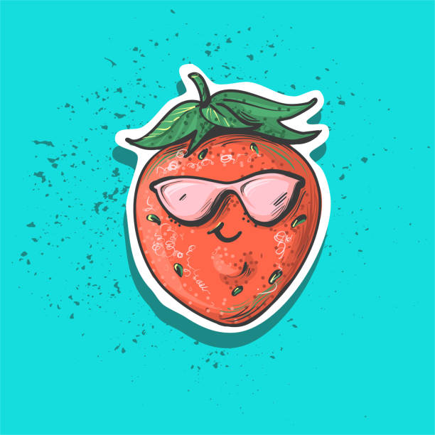 Vector strawberry patch. Isolated illustrations - great for stickers, embroidery, badges. Design style of 80s-90s. Fruit patch. vector art illustration