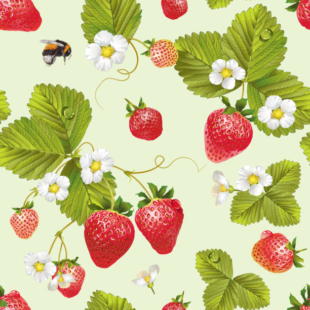 illustrazioni stock, clip art, cartoni animati e icone di tendenza di vector strawberry seamless pattern. - fragole