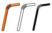 Vector illustration of straws on white background