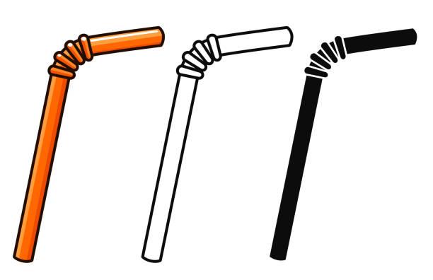 illustrazioni stock, clip art, cartoni animati e icone di tendenza di vector straws on white background - cannuccia
