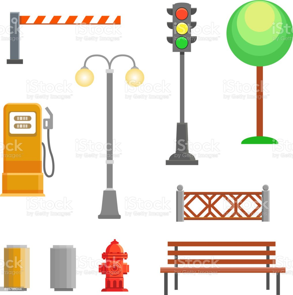 Vector street element icons set. Bench, hydrant and trafficlights, vector art illustration