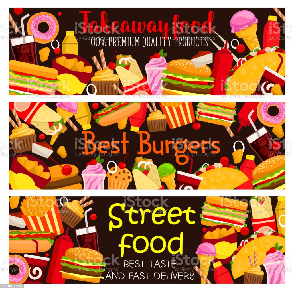 Street Food Burger Cafe Menu Banners Design Template For Fast Food Stock Images Page Everypixel