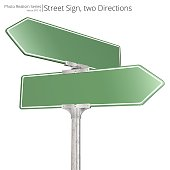 Vector of green two way Street Signs pointing in opposite directions. Blank for Copy Space.