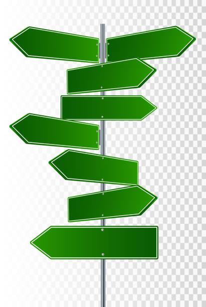 向量街標誌。3路街道標誌指向相反方向的向量例證 - 方向標誌 幅插畫檔、美工圖案、卡通及圖標