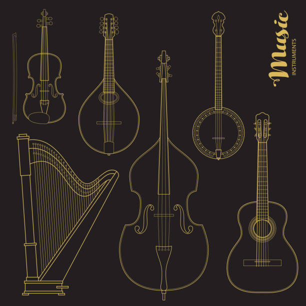 vector string music instruments. stylized geometric flat line illustration musical kit for icon, banner, poster, flyer design. - instrument strunowy stock illustrations