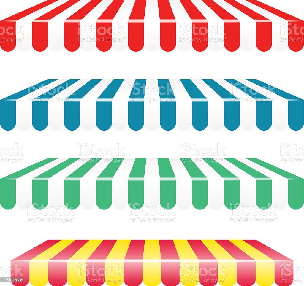 Vector striped awnings vector art illustration