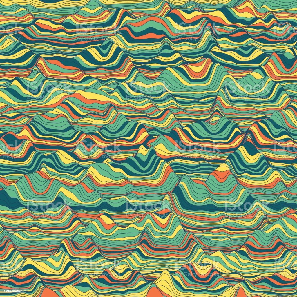 Vector striped background. Abstract color waves. Sound wave oscillation. Funky curled lines. Elegant wavy texture. Surface distortion. Colorful background. vector art illustration
