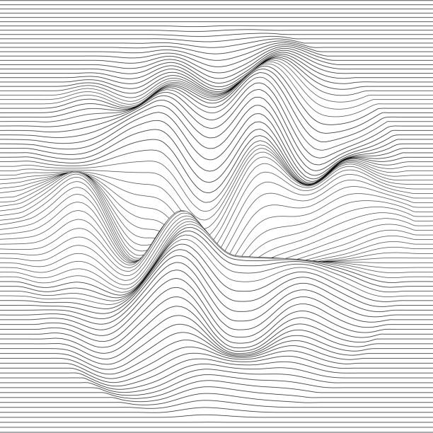 Vector striped background. Abstract line waves. Sound wave oscillation. Funky curled lines. Elegant wavy texture. Surface distortion. Monochrome. Grayscale backdrop. vector art illustration