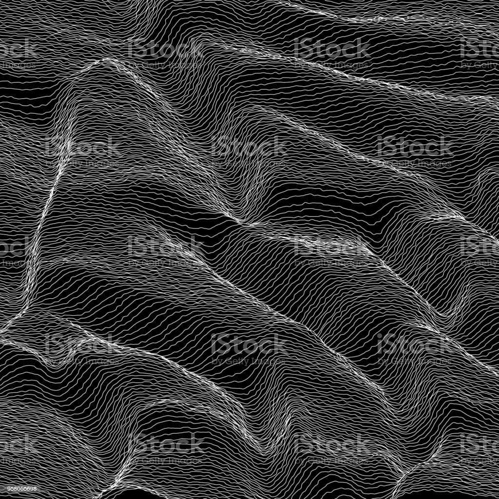 Vector striped grayscale background. Abstract line waves. Sound wave oscillation. Funky curled lines. Elegant wavy texture. Surface distortion. Black and white. vector art illustration