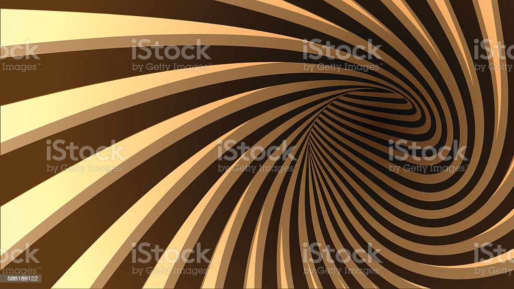 Vector striped spiral abstract tunnel background.
