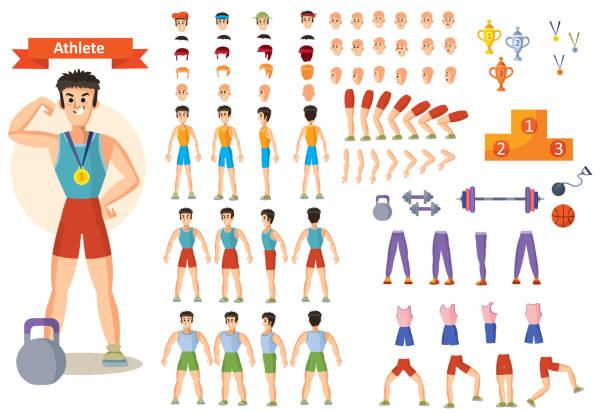 ilustraciones, imágenes clip art, dibujos animados e iconos de stock de atleta del hombre fuerte de vector. juego de creación de caracteres - entrenador personal