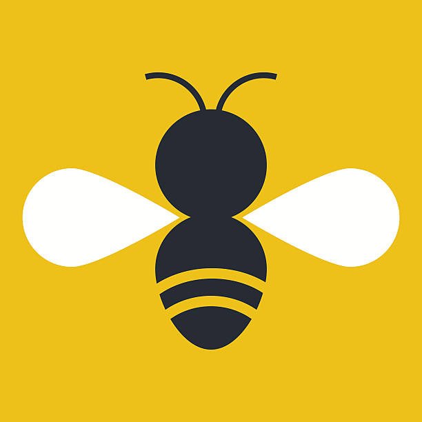 Vector style bee with white wings on a yellow background vector art illustration