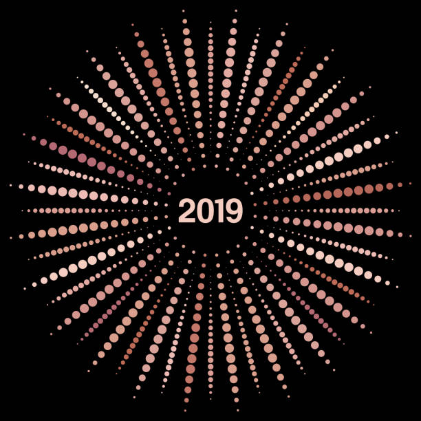 vector style design of a single radial burst of new year 2019 in rose gold flat