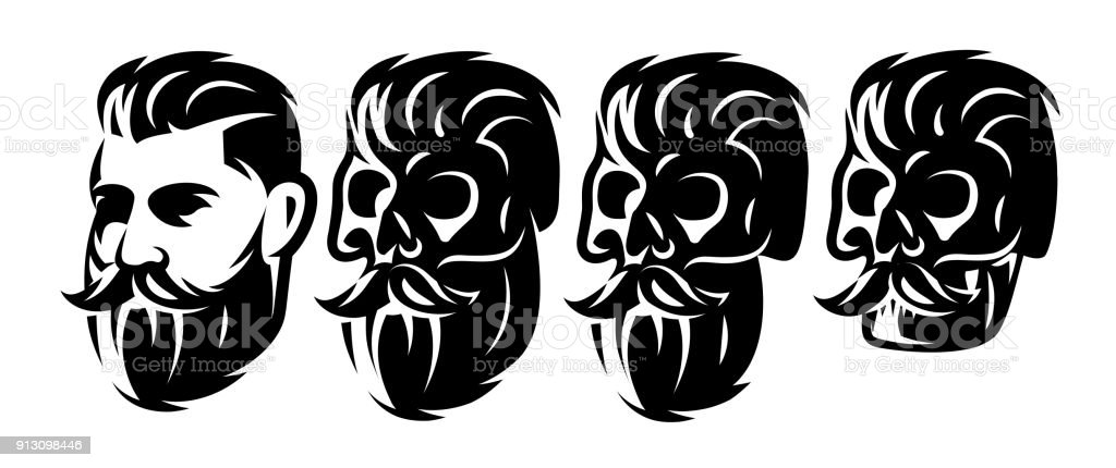 Ilustración de Vector Estilo Con Cabeza Masculina Y Cráneos Con ...