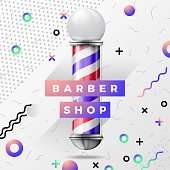 Vector bright   style background with Old fashioned vintage silver glass barber shop pole with red, blue and white stripes.