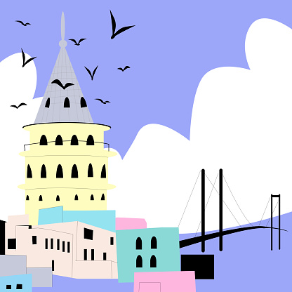 Vector stylish abstract illustration of Istanbul.