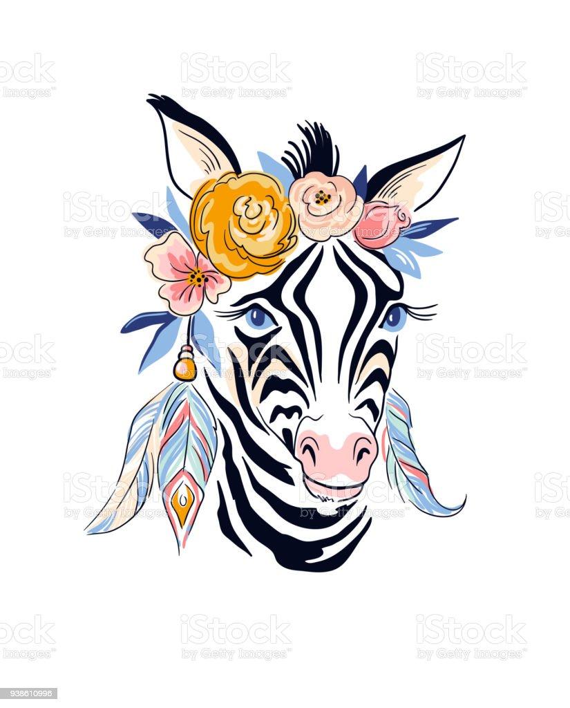 ベクター スタイリッシュな自由奔放に生きる。手には、シマウマと花のイラストが描かれました。 ベクターアートイラスト