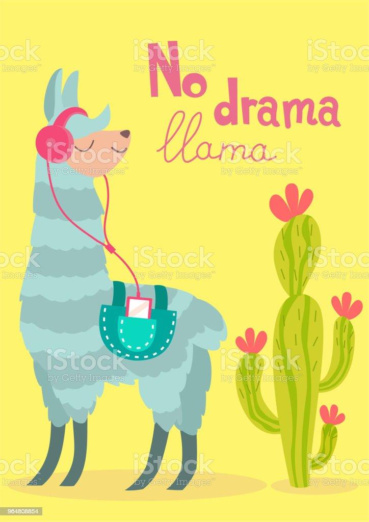 Vector stylish cartoon lama with cactus. No drama llama poster. royalty-free vector stylish cartoon lama with cactus no drama llama poster stock vector art & more images of alpaca