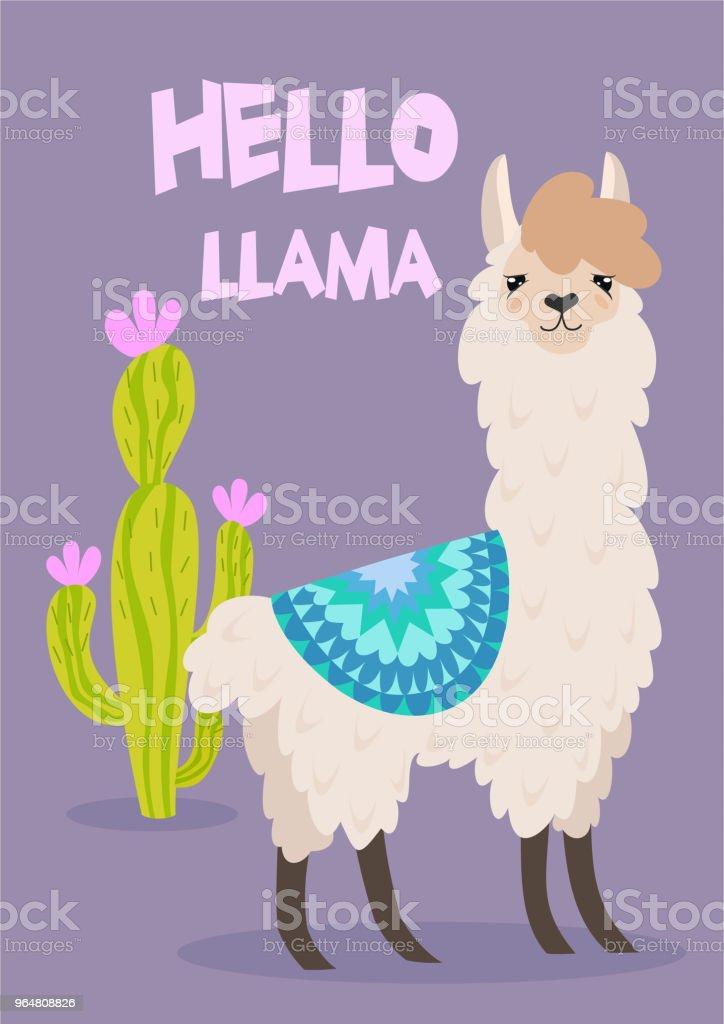 Vector stylish cartoon lama with ornament design and cactus. Hello llama poster. royalty-free vector stylish cartoon lama with ornament design and cactus hello llama poster stock vector art & more images of alpaca