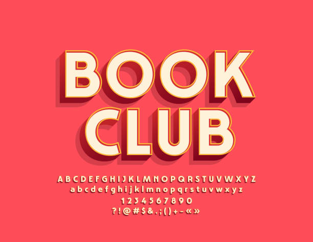 Vector stylish Emblem Book Club with Alphabet Cool Font. Bright 3D Letters, Numbers and Symbols three dimensional stock illustrations