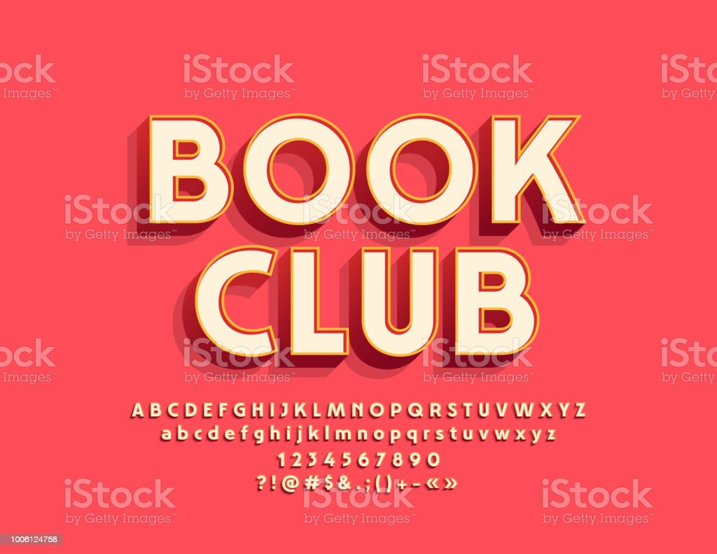 Vector stylish Emblem Book Club with Alphabet vector art illustration