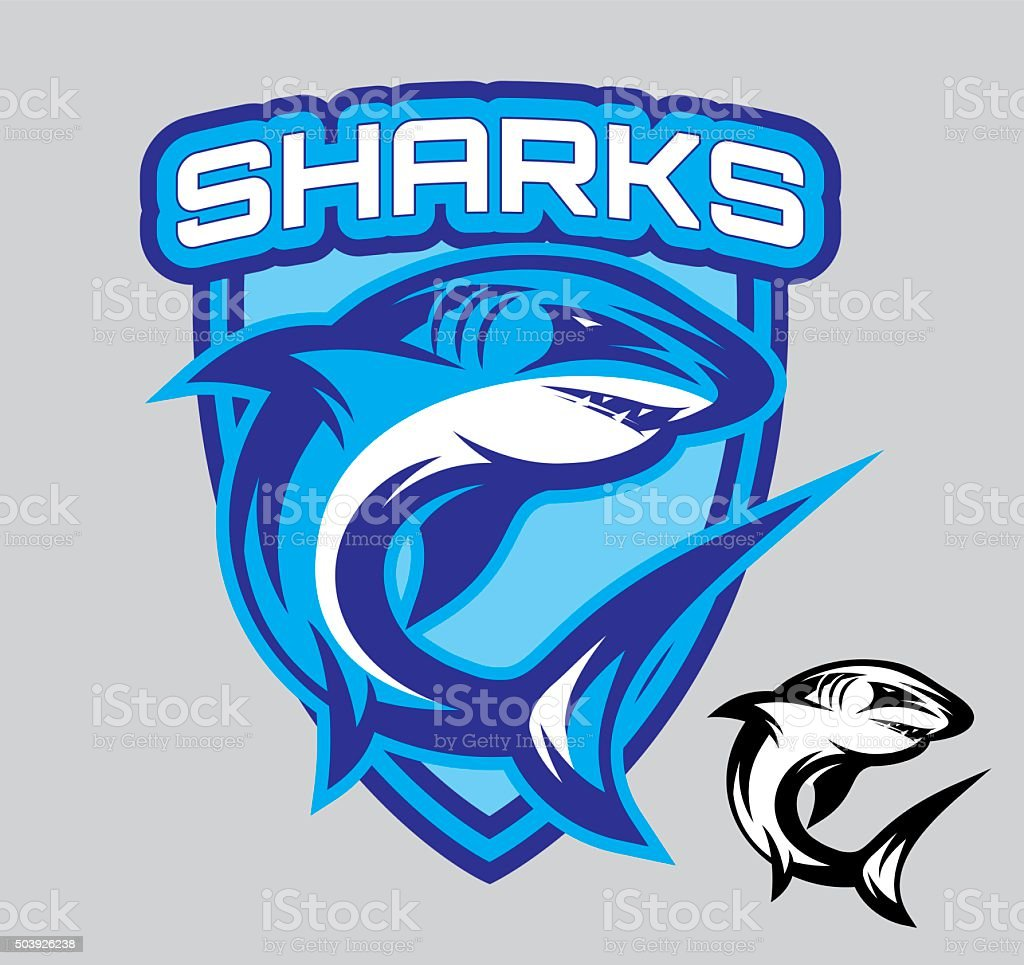 vector stylish emblems for sports teams with a shark vector art illustration
