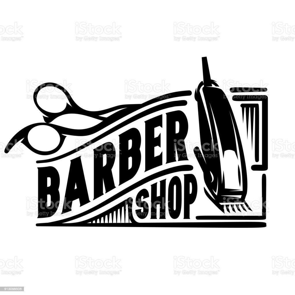 vetor logotipo elegante para barbearia com tesoura e tesoura. - ilustração de arte em vetor