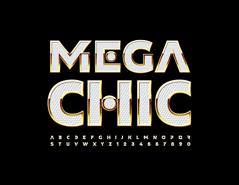Vector stylish logo Mega Chic. Textured White and Gold Alphabet Letters and Numbers set