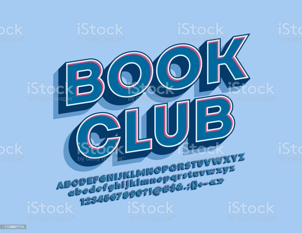 Vector stylish Sign Book Club. Bright 3D Alphabet Letters, Numbers and Symbols